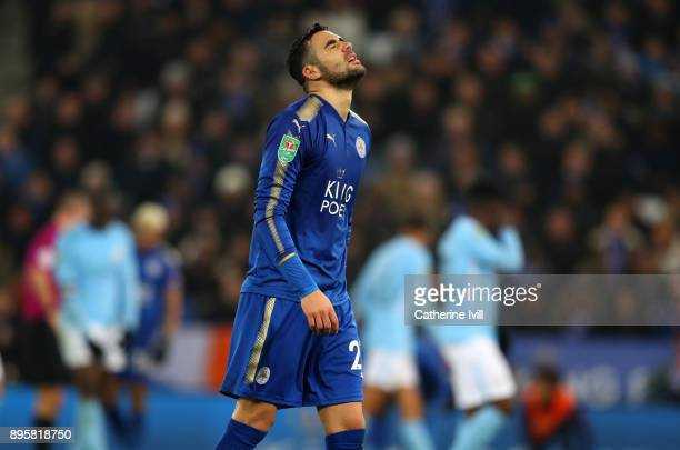 Vicente Iborra of Leicester City reacts during the Carabao Cup QuarterFinal match between Leicester City and Manchester City at The King Power...