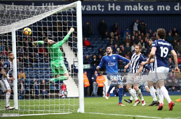 Vicente Iborra of Leicester City scores his sides fourth goal during the Premier League match between West Bromwich Albion and Leicester City at The...