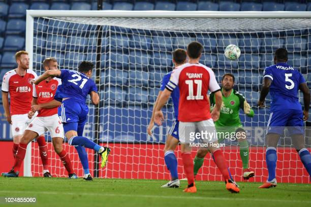 Vicente Iborra of Leicester City scores his team's second goal during the Carabao Cup Second Round match between Leicester City and Fleetwood Town at...