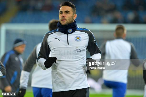 Vicente Iborra of Leicester City warms up at King Power Stadium ahead of the Carabao Cup QuarterFinal match between Leicester City and Manchester...