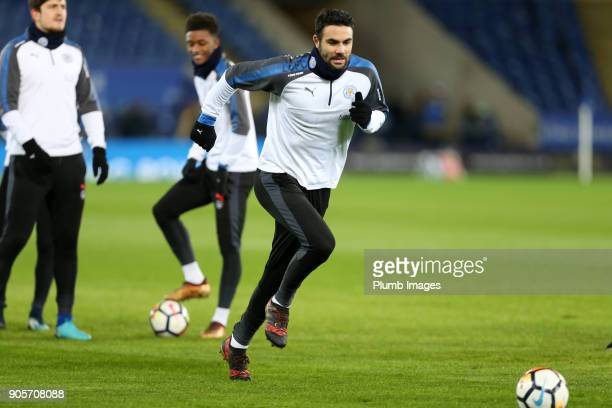 Vicente Iborra of Leicester City warms up at King Power Stadium ahead of The Emirates FA Cup Third Round Replay between Leicester City and Fleetwood...