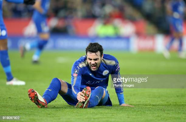 Vicente Iborra of Leicester City winces in pain after a tackle during the FA Cup fifth round match between Leicester City and Sheffield United at...
