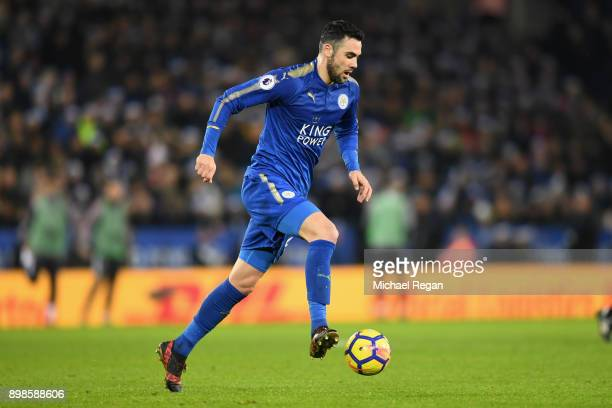 Vicente Iborra of Leicester in action during the Premier League match between Leicester City and Manchester United at The King Power Stadium on...