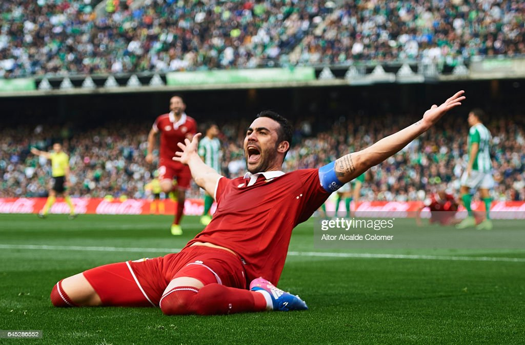 Vicente Iborra of Sevilla FC celebrates after scoring during La Liga match between Real Betis Balompie and Sevilla FC at Benito Villamarin Stadium on February 25, 2017 in Seville, Spain.