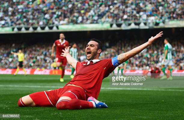 Vicente Iborra of Sevilla FC celebrates after scoring during La Liga match between Real Betis Balompie and Sevilla FC at Benito Villamarin Stadium on...