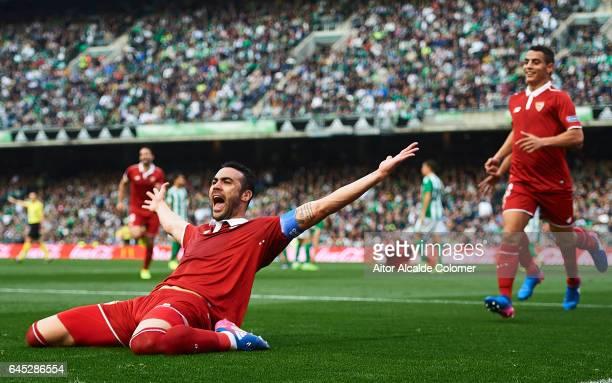Vicente Iborra of Sevilla FC celebrates after scoring during La Liga match between Real Betis Balompie and Sevilla FC at Benito Villamarin Stadium on...