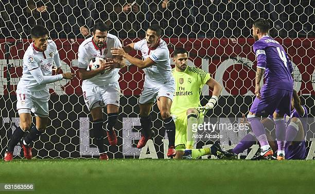 Vicente Iborra of Sevilla FC celebrates after scoring the first goal of Sevilla FC during the Copa del Rey Round of 16 Second Leg match between...