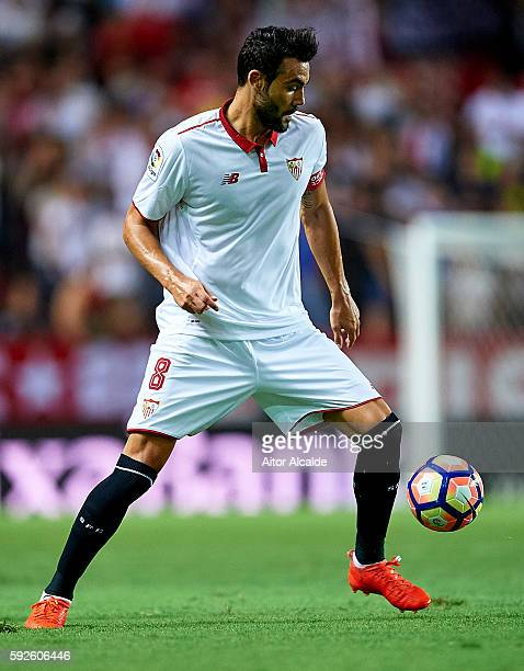 Vicente Iborra of Sevilla FC in action during the match between Sevilla FC vs RCD Espanyol as part of La Liga at Estadio Ramon Sanchez Pizjuan on...