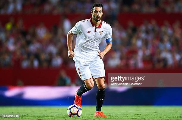 Vicente Iborra of Sevilla FC in action during the match between Sevilla FC vs Real Betis Balompie as part of La Liga at Estadio Ramon Sanchez Pizjuan...