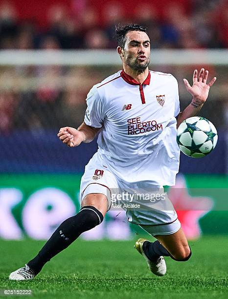 Vicente Iborra of Sevilla FC in action during the UEFA Champions League match between Sevilla FC and Juventus at Estadio Ramon Sanchez Pizjuan on...