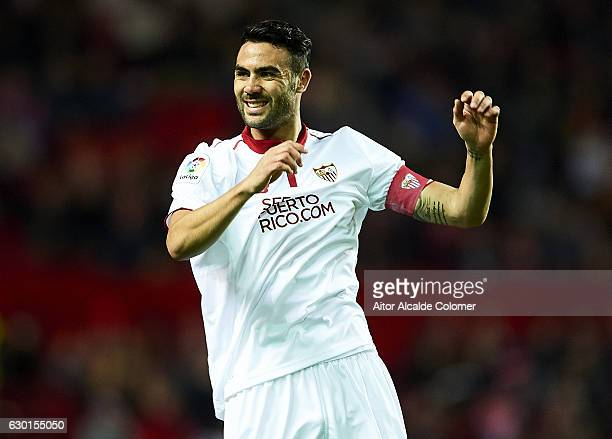 Vicente Iborra of Sevilla FC reacts during the La Liga match between Sevilla FC and Malaga CF at Estadio Ramon Sanchez Pizjuan on December 17 2016 in...
