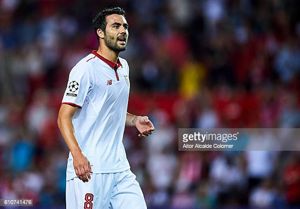 Vicente Iborra of Sevilla FC reacts during the UEFA Champions League match between Sevilla FC and Olympique Lyonnais at Sanchez Pizjuan stadium on...
