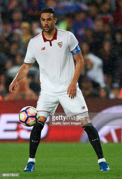 Vicente Iborra of Sevilla in action during the La Liga match between FC Barcelona and Sevilla FC at Camp Nou Stadium on April 5 2017 in Barcelona...