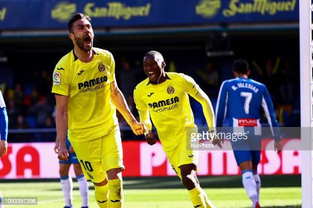 Vicente Iborra of Villarreal CF celebrate after scoring the 10 goal with his teammate Karl Toko Ekambi of Villarreal CF during spanish La Liga match...