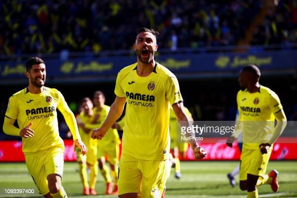Vicente Iborra of Villarreal CF celebrate after scoring the 10 goal with his teammate during spanish La Liga match between Villarreal CF vs RCD...
