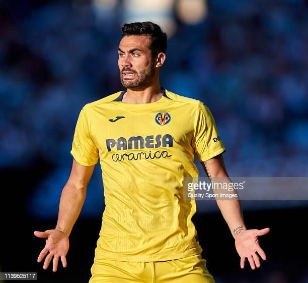 Vicente Iborra of Villarreal CF reacts during the La Liga match between RC Celta de Vigo and Villarreal CF at Abanca Balaidos Stadium on March 30,...