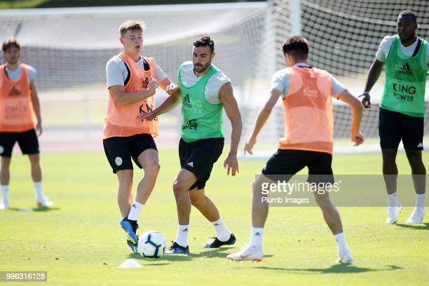 Vicente Iborra with Harvey Barnes during the Leicester City preseason training camp on July 11 2018 in Evian France