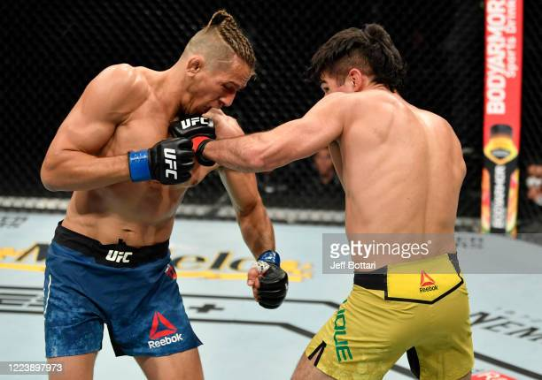 Vicente Luque punches Niko Price in their welterweight fight during the UFC 249 event at VyStar Veterans Memorial Arena on May 09 2020 in...