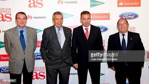 Vicente Miera Enrique Perez Diaz Paco Buyo and Francisco Gento attend As del Deporte awards 2012 at Palace Hotel on December 10 2012 in Madrid Spain