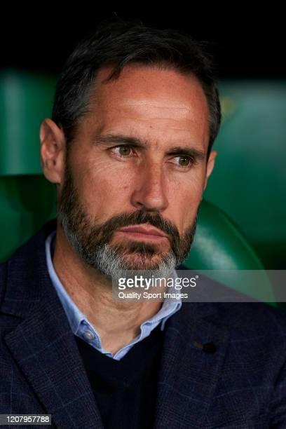 Vicente Moreno Manager of RCD Mallorca looks on prior to the La Liga match between Real Betis Balompie and RCD Mallorca at Estadio Benito Villamarin...