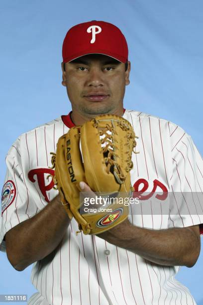 Vicente Padilla of the Philadelphia Phillies poses for a portrait during the Phillies Media Day at Jack Russell Stadium in Clearwater Florida