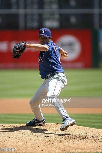 Vicente Padilla of the Texas Rangers pitches during the game against the Oakland Athletics at the Network Associates Coliseum in Oakland, California...