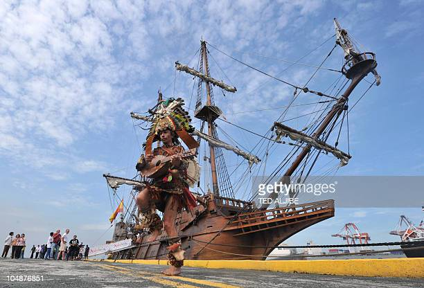 Vicente Reyes Candonache a Mexican Aztec and member of the crew of Galeon Andalucia a 17th century replica of the galleon performs shortly after the...
