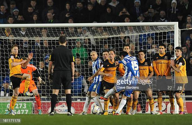 Vicente Rodriguez of Brighton Hove Albion scores the only goal of the game from a free kick during the npower Championship match between Brighton...