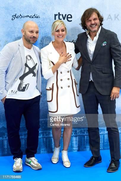 Vicente Romero, Maggie Civantos and Salva Reina attend 'Malaka' photocall at Palacio de Congresos Europa on September 02, 2019 in Vitoria-Gasteiz,...