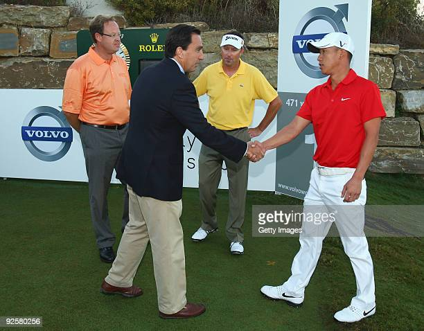 Vicente Rubio of Finca Cortesin shakes hands with Anthony Kim of USA on the 1st tee during the Semi Finals of the Volvo World Match Play Championship...