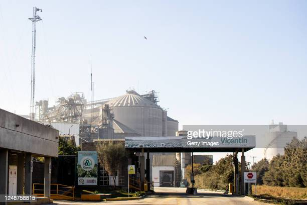 Vicentin factory entrance on June 10, 2020 in San Lorenzo, Argentina. President Alberto Fernandez authorized the intervention of the agricultural...