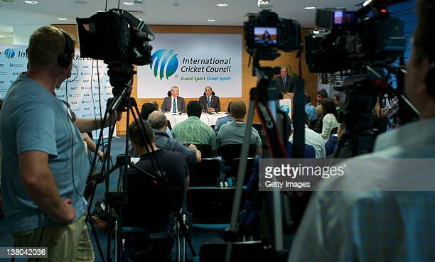 VicePresident Alan Isaac and ICC Chief Executive Haroon Lorgat speak at a press conference after the Executive Board meeting at the ICC headquarters...