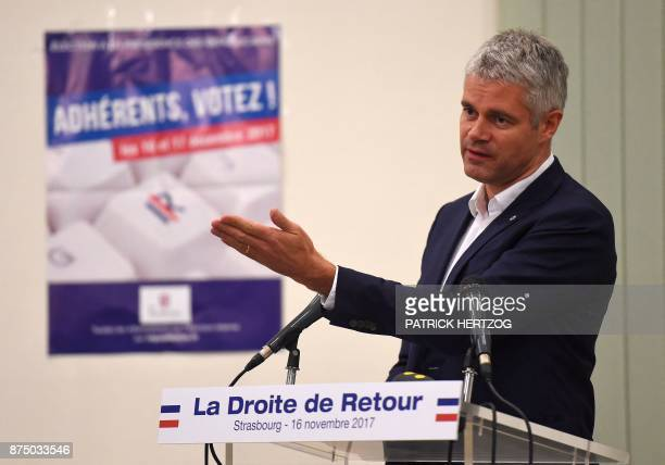 VicePresident and candidate for France's rightwing Les Republicains party's presidency Laurent Wauquiez speaks during a campaign meeting in...