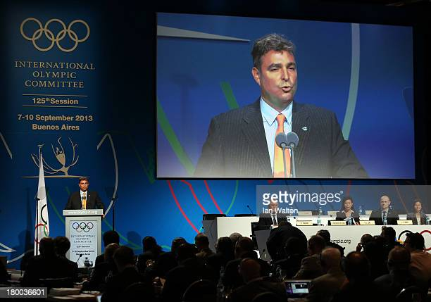 VicePresident Antonio Castro speaks during a World Baseball Softball Confederation presentation during the 125th IOC Session New Sport Announcement...