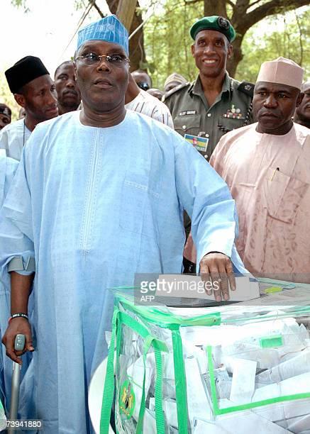 Vicepresident Atiku Abubakar casts his vote at in Jimeta Adamawa state western Nigeria 21 April 2007 Voting stations started to close late Saturday...
