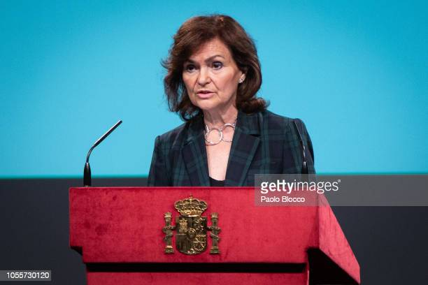 Vicepresident Carmen Calvo attends the reading of the Spanish Constitution for the 40th anniversary of its approval by the Congress at the Cervantes...