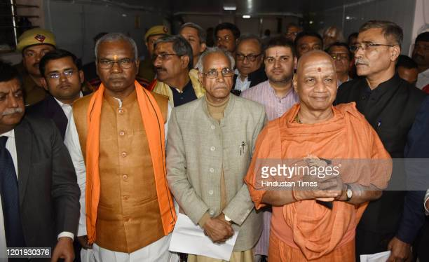 Vice-president Champat Rai along with other members of Sri Ram Janmabhoomi Teerth Kshetra, the trust setup to oversee construction of the Ram Temple...
