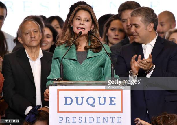 Vicepresident elected of Colombia Martha Lucia Ramirez speaks after winning the presidential ballotage between Conservative Ivan Duque and leftist...