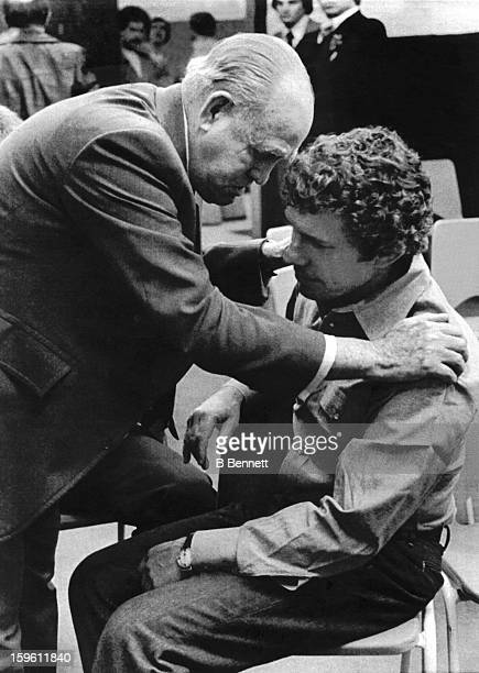 VicePresident Frank 'King' Clancy of the Toronto Maple Leafs consoles the just fired head coach Roger Neilson on March 2 1979 at the Maple Leaf...