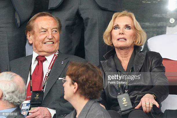 UEFA vicepresident Gerhard MayerVorfelder and wife Margit look on prior to the UEFA EURO 2008 Group C match between France and Italy at Letzigrund...