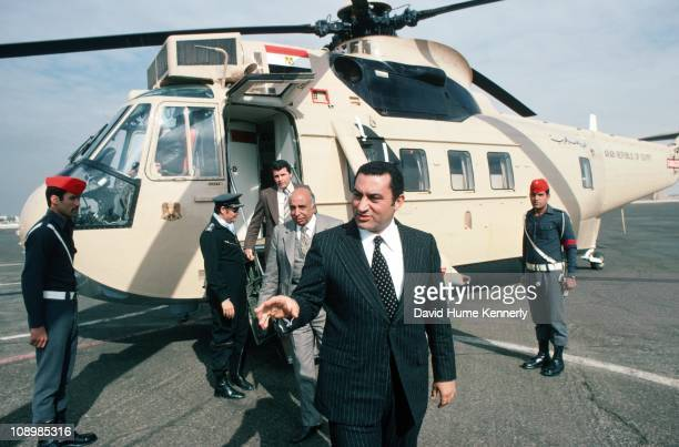 Vice-President Hosni Mubarak arrives in Cairo after traveling in the Egyptian presidential helicopter, Egypt, 1977.