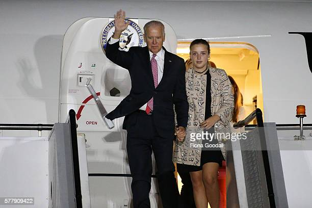 VicePresident Joe Biden and his granddaughters arrive at Auckland Airport on July 20 2016 in Auckland New Zealand Biden is visiting New Zealand on a...