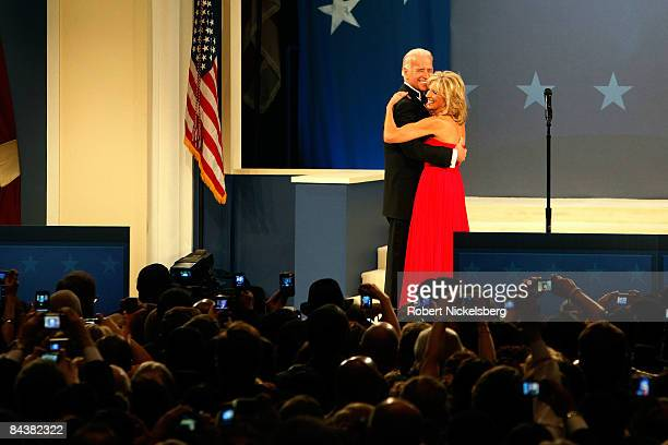 VicePresident Joe Biden and his wife ]Jill Biden attend the Biden Home States Ball at the Washington Convention Center on January 20 2009 in...