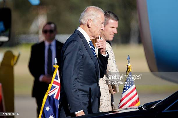 VicePresident Joe Biden arrives at Sydney Airport on July 18 2016 in Sydney Australia Biden is visiting Australia on a four day trip which includes a...