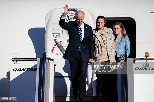 VicePresident Joe Biden arrives at Sydney Airport with his granddaughters on July 18 2016 in Sydney Australia Biden is visiting Australia on a four...