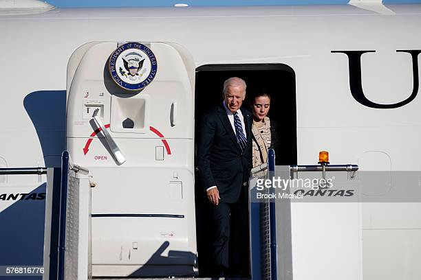 VicePresident Joe Biden arrives on Airforce 2 with his grand daughter at Sydney Airport on July 18 2016 in Sydney Australia Biden is visiting...