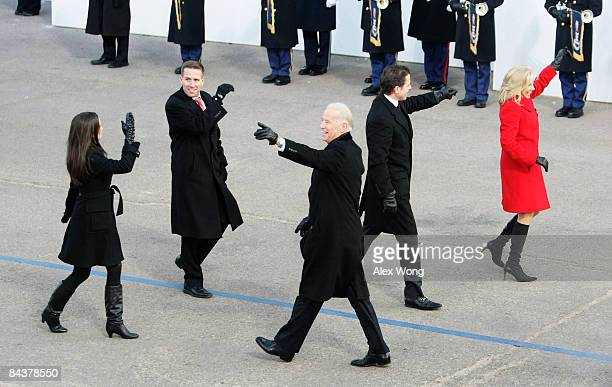 VicePresident Joe Biden arrives with his family wife Jill sons Hunter and Beau and daughter Ashley at the reviewing stand to watch the Inaugural...