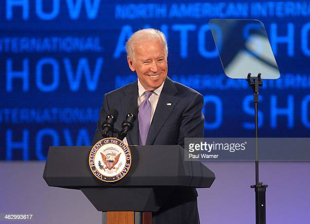 S VicePresident Joe Biden attends the North American International Auto Show industry preview at Cobo Hall on January 16 2014 in Detroit Michigan