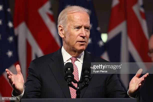 VicePresident Joe Biden delivers a speech on the future of the USAustralia relationship at Paddington Town Hall on July 20 2016 in Sydney Australia...