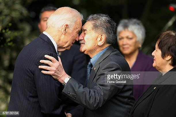 Vice-President Joe Biden is welcomed with a traditional Maori hongi from Kaumatua Lewis Moeau at Government House on July 21, 2016 in Auckland, New...